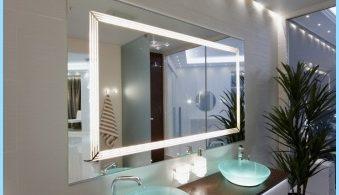 Light mirror in the interior of a bathroom