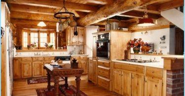 Kök i ett trähus - en modern design vid stugan
