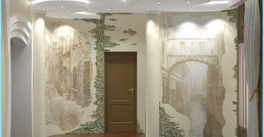 Design och inredning av entréhallen med dekorativa sten